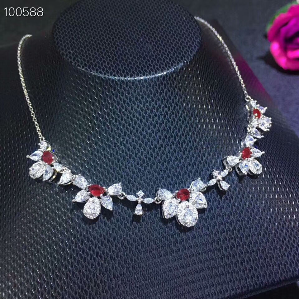 KJJEAXCMY boutique jewels 925 pure silver inlaid natural ruby necklace Necklace support test kjjeaxcmy boutique jewelry 925 pure silver mosaic jade jadeite pendant necklace support test