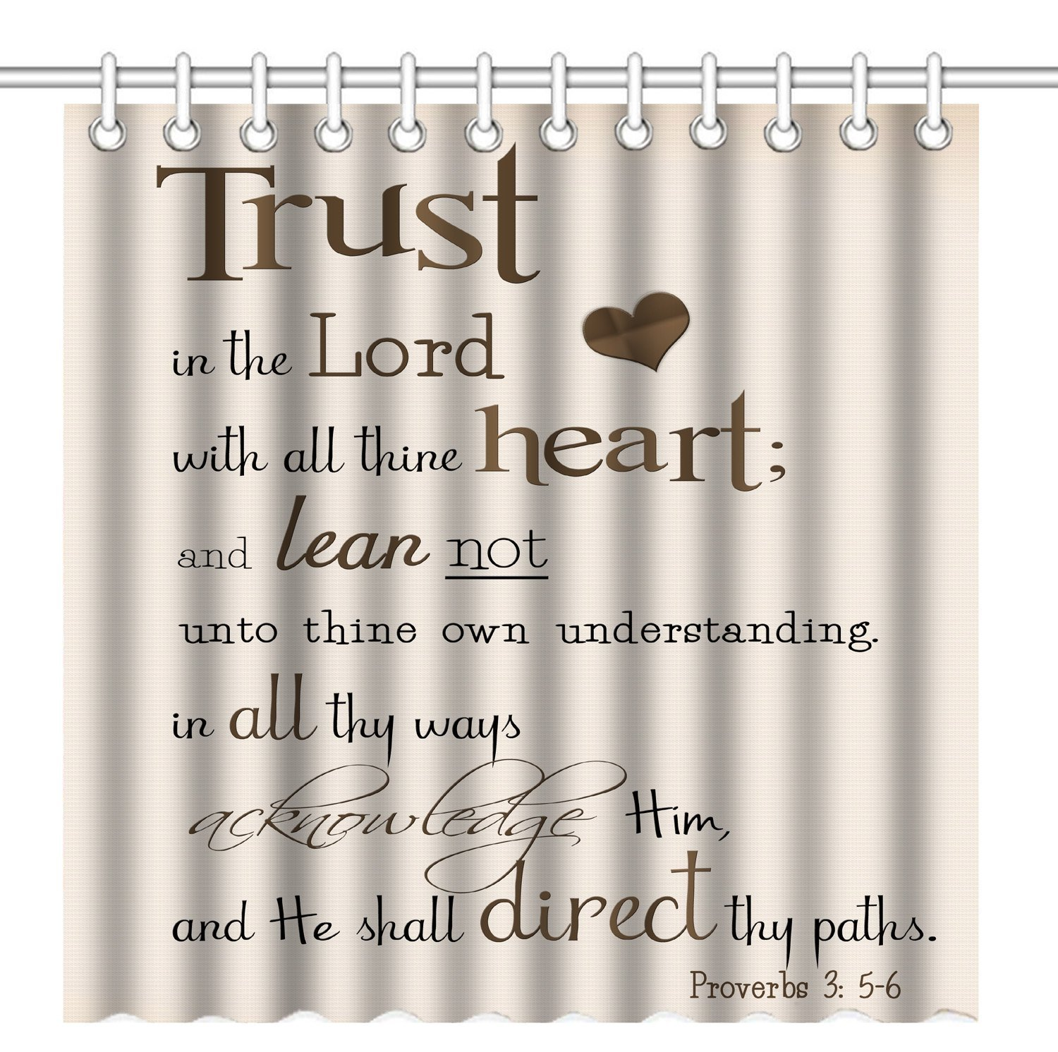 Shower Curtain,Bible Verse Scripture Quotes Proverbs Trust