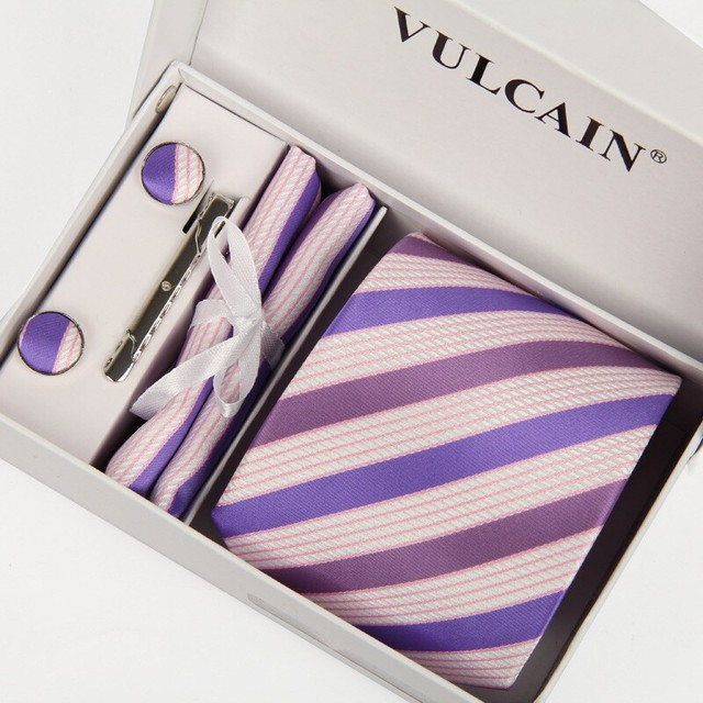 Gravata y pañuelo y gemelos y clip de corbata con caja de regalo 5 sets púrpura y Café a rayas señores corbatas corbatas