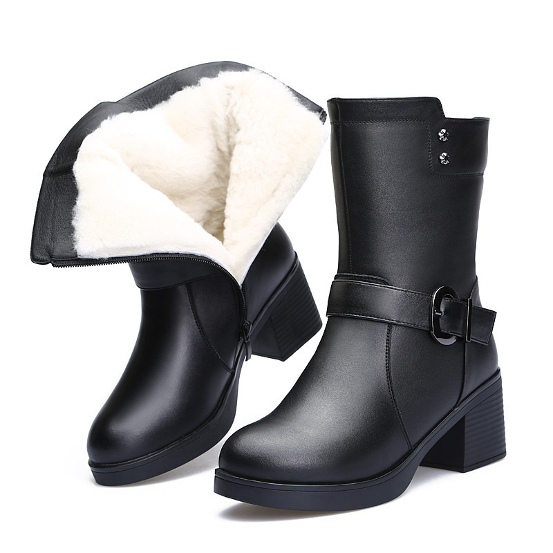 Ladies Shoes Genuine Leather Winter Boots Women Keep Warm Shoes Female Mid-Calf Platform Snow Boots 2018 Shoes Woman Big Size 41 fashion nubuck leather haft boots women winter shoes warm female winter boots australia snow boots ladies shoes platform