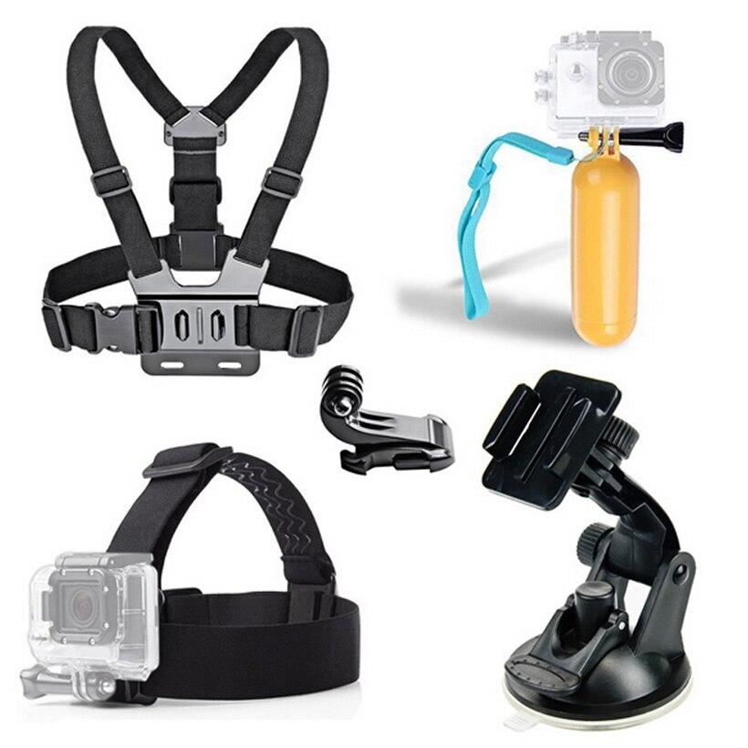 Prix pour 6-en-1 Accessoires Set Pour Xiaomi yi Pour Gopro SJ4000 De Voiture Sucker Poitrine ceinture Strap Pour Go pro Hero 4 3 Pour Xiaoyi D'action Caméra