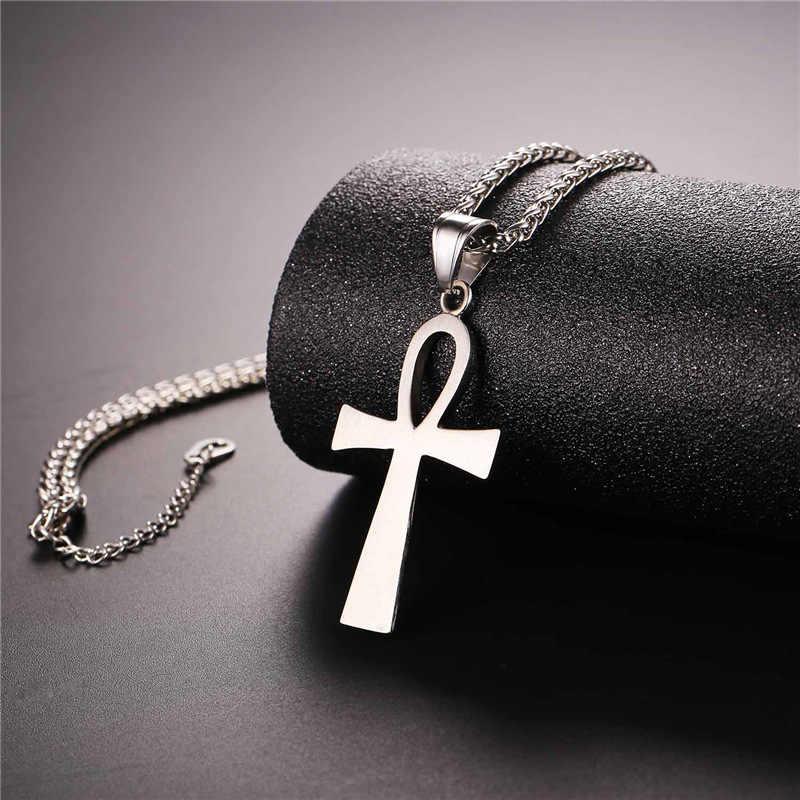 9168ea459d50 ... Cruz ANKH clave de Nilo encanto collar mujeres hombres oro rosa de oro pistola  ...