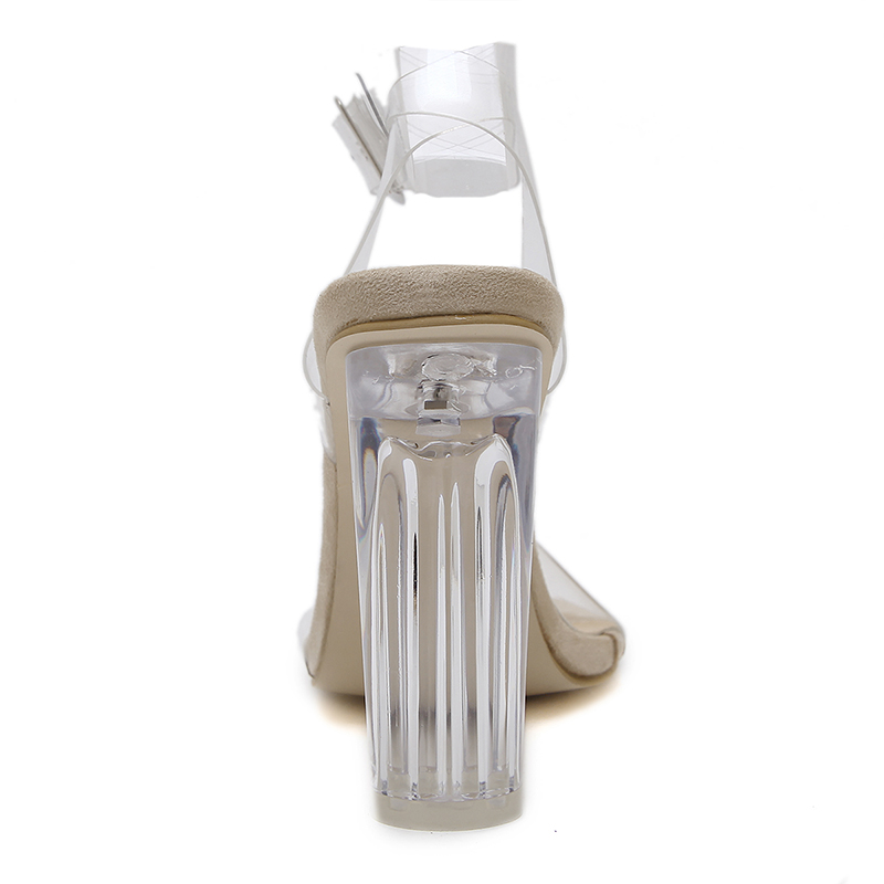 Altos Cuadrados 10 Mujer Zapatos 2018 Sandalias Cristal Bombas Tamaño Tacones Extrema Bloque Gladiador Cm Verano Mujeres Transparente 35 Caqui 43 De Talones tnY8wYfq