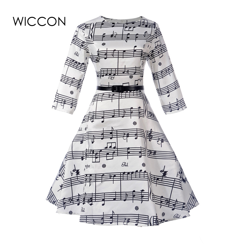 New Women Dress High Defined Waist Vintage Dresses Woman Girls Autumn Vestido O-neck Collar Knee Length Vestidos Female Clothing ...