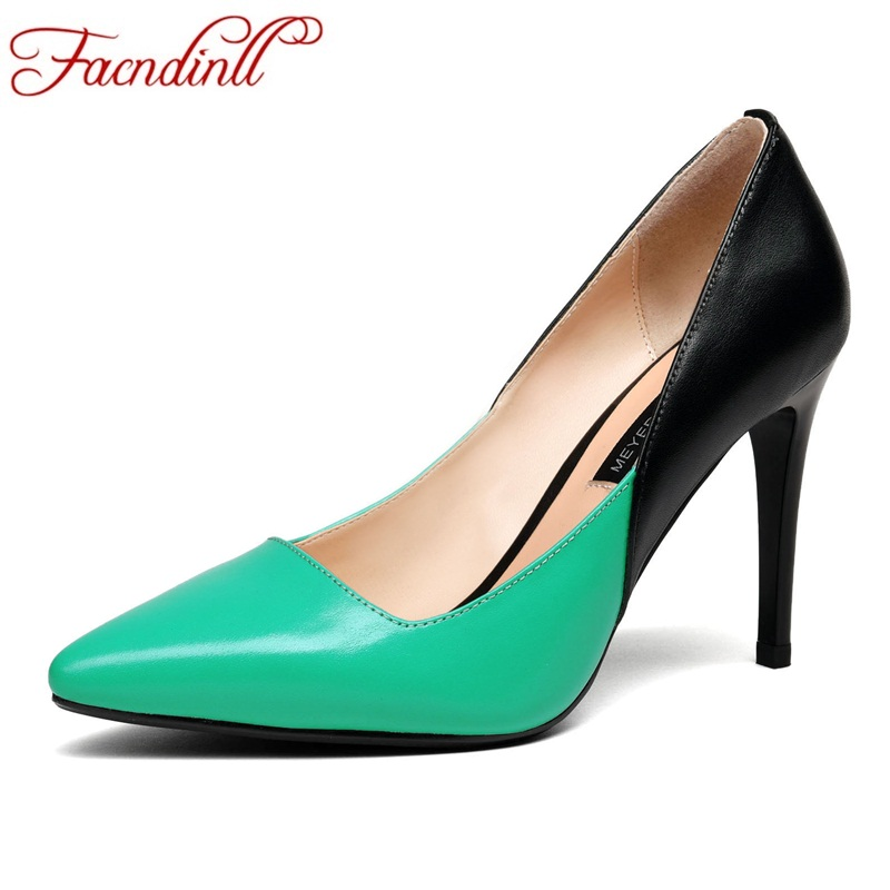 FACNDINLL fashion women pumps new sexy thin high heels pointed toe shoes woman dress party office ladies pumps genuine leather vankaring women pumps new 2018 spring summer sexy high heels pointed toe shoes woman dress party wedding office ladies pumps