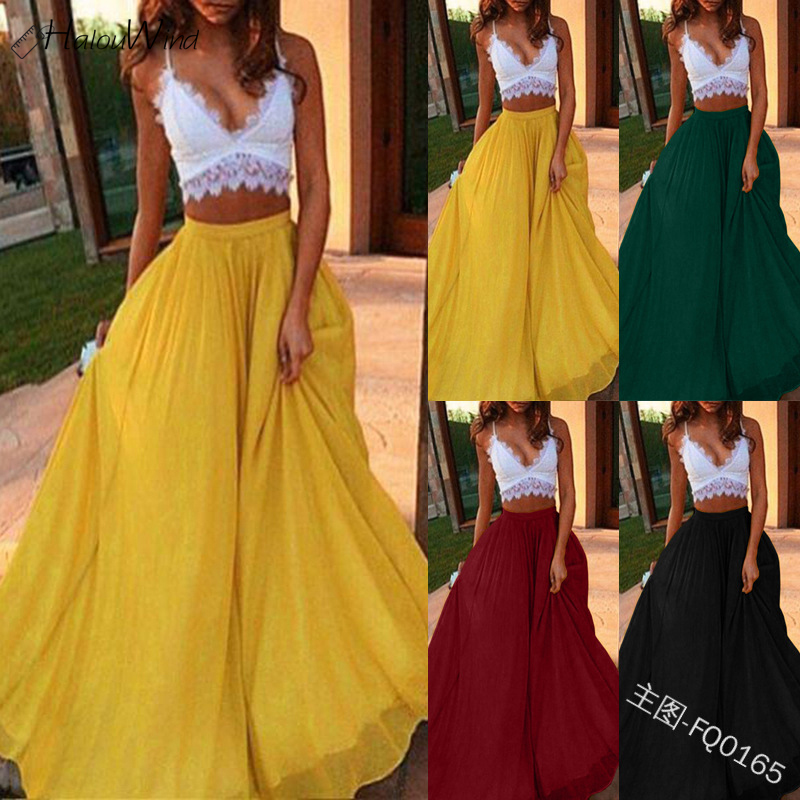 2019 Women Chiffon Long Skirts Elastic Waist Pleated A-line Maxi Skirts Beach Boho Vintage High Waist Summer Skirts Faldas Saia