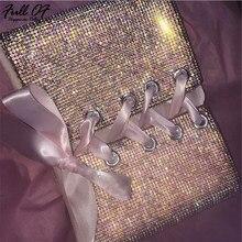 b7567204276 Sexy Metal Crystal Diamond Women Bandage Crop tops Luxury Party Nightclub  Halter Camisole Bralette Glitter Sequins Tank Top 2018