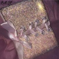 Sexy Metal Crystal Diamond Women Bandage Crop Tops Luxury Party Nightclub Halter Camisole Bralette Glitter Sequins