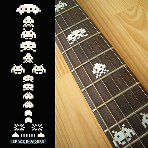 Fretboard Markers Inlay Sticker Decals for Guitar Bass - Space Invaders (White Pear/Color) space invaders extreme psp