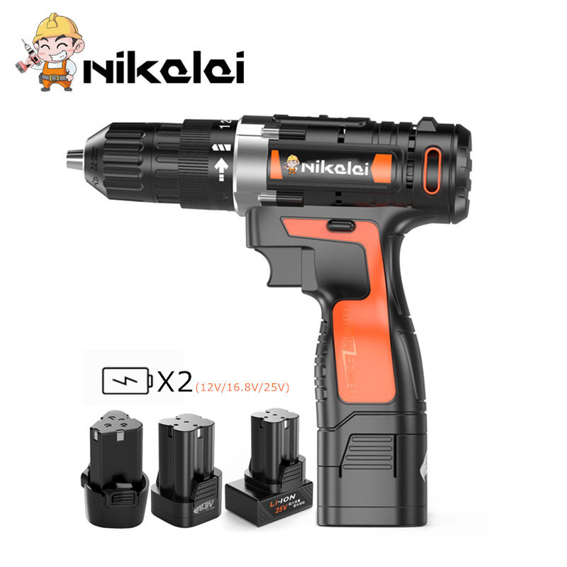 2019 Latest Design 12v 16.8v 25v Electric Screwdriver Power Tools Professional Cordless Drill Battery Screwdriver Waterproof Motor Electric Drill Refreshing And Enriching The Saliva