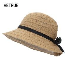AETRUE sombreros de verano para las mujeres moda gran ala femenina sol  playa sombrero niñas plegable señoras Panamá paja mujeres. 8330f6c07637