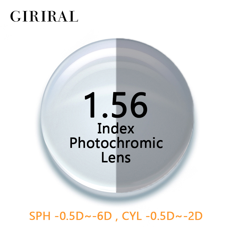 1.56 Index CR-39 Photochromic glasses lenses colored sunglasses prescription reading optical myopia clear lenses eye #1.56BS