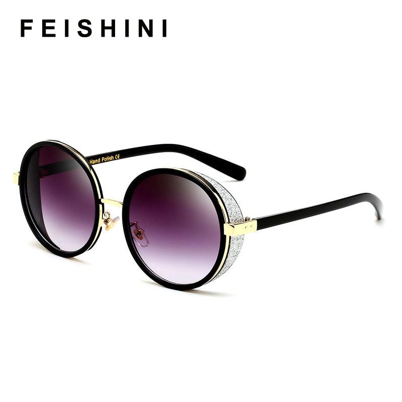 FEISHINI Gothic Steampunk Round Sunglasses Mujer Mirror Goggle Luxury Fashion Sun Glasses For Women Vintage Oculos Female Shades