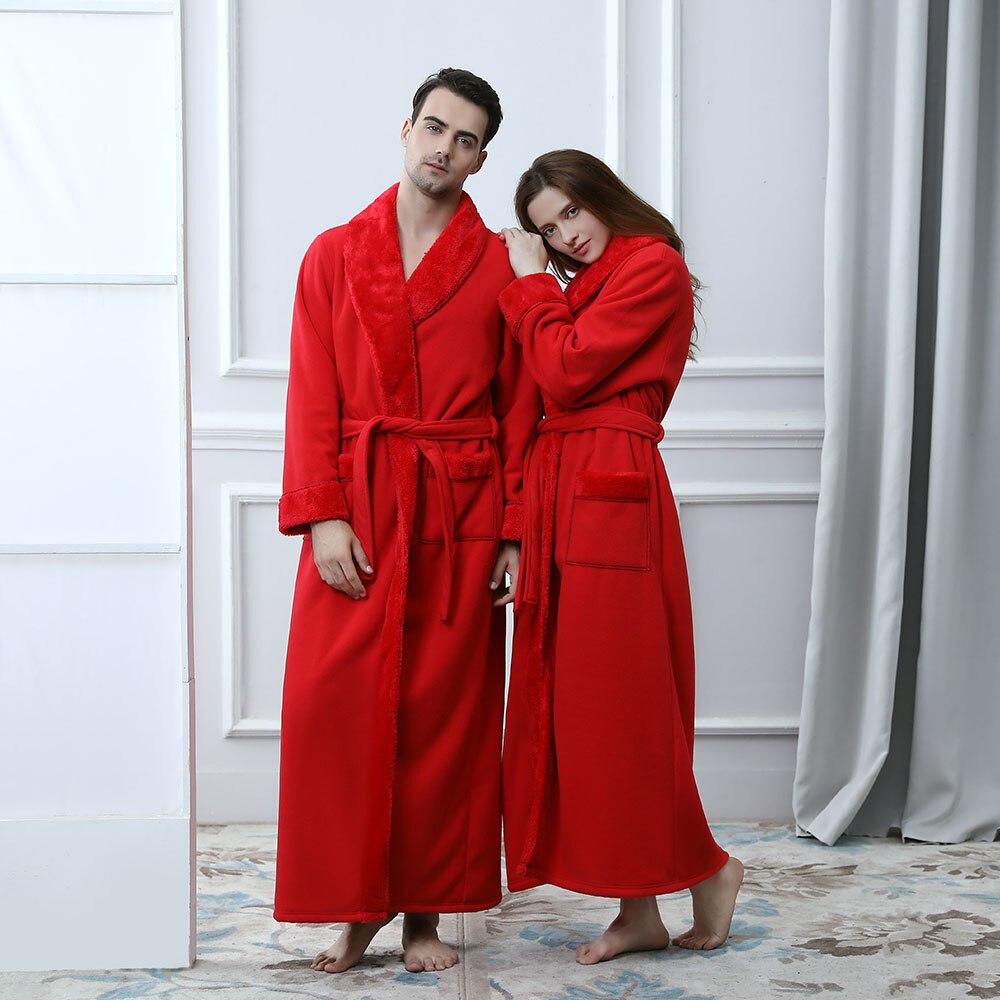 Women Men Bath Robe Sleepwear Autumn Winter Solid Plush Couple Bathrobe Thick Warm Female Robe