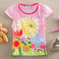 NEAT Kids 2016 new t-shirts cartoon flower baby girls short sleeve lace t shirt children clothing wear baby girl clothing3970#