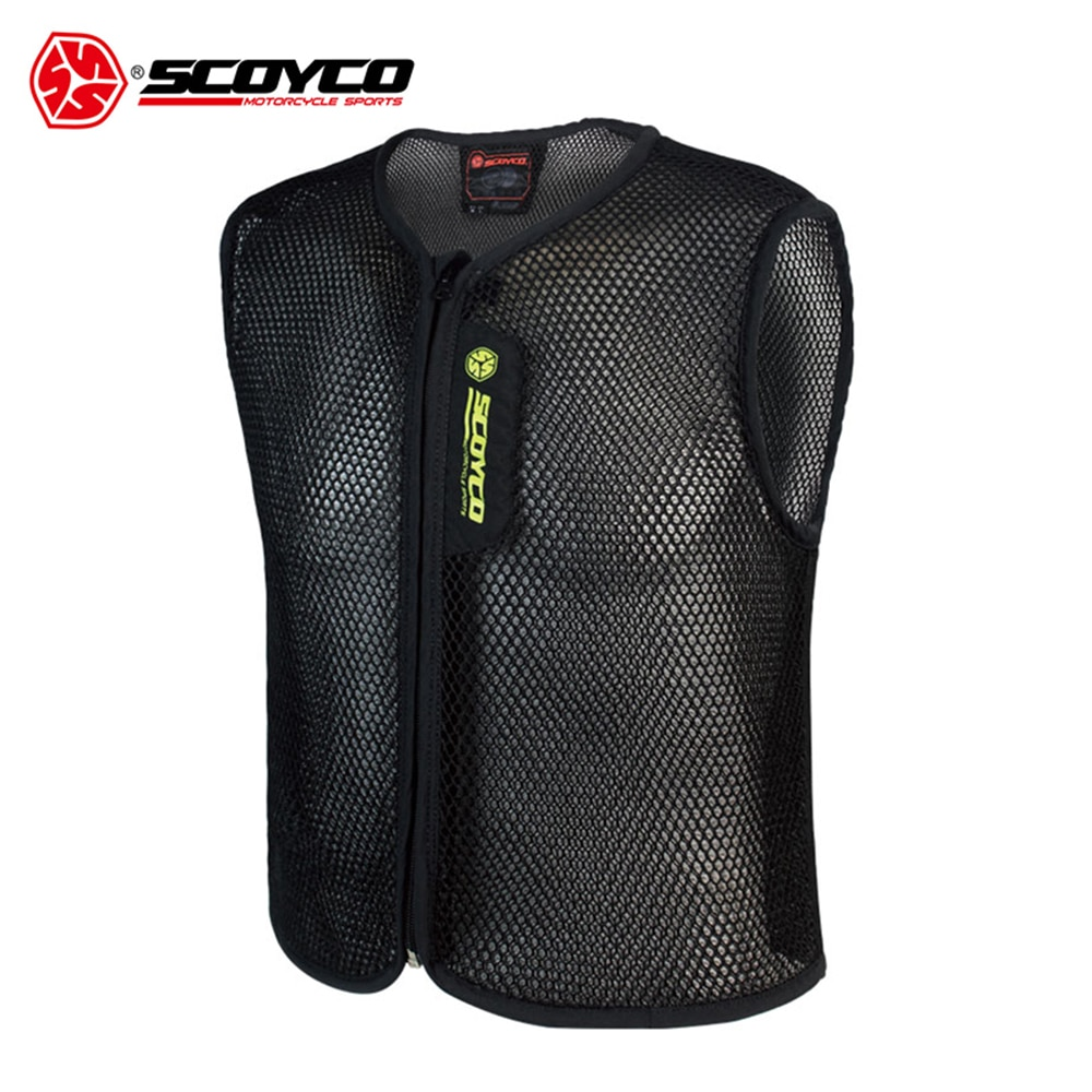 SCOYCO Motorcycle Vest Protective Gear Motorbike Waistcoats Jacket Black Breathable Motorcycle Vest Grid Material Motorbike Vest 5cmx5m gray tc material reflecterende stof for jacket and vest free shipping