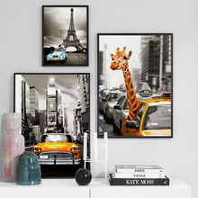 Giraffe Paris Tower New York Landscape Wall Art Canvas Painting Nordic Posters And Prints Pictures For Living Room Decor