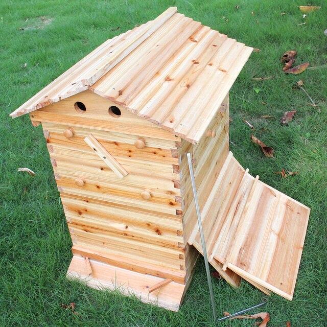 صندوق خلية النحل الخشبية مع 7 إطارات خلية النحل أدوات تربية النحل العسل الذاتي تتدفق خلية النحل البيت لوازم معدات تربية النحل 3