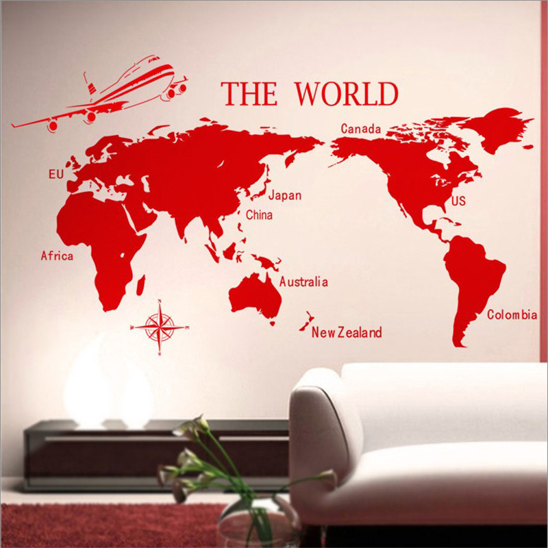 kedoede world map wall sticker company culture school classroom