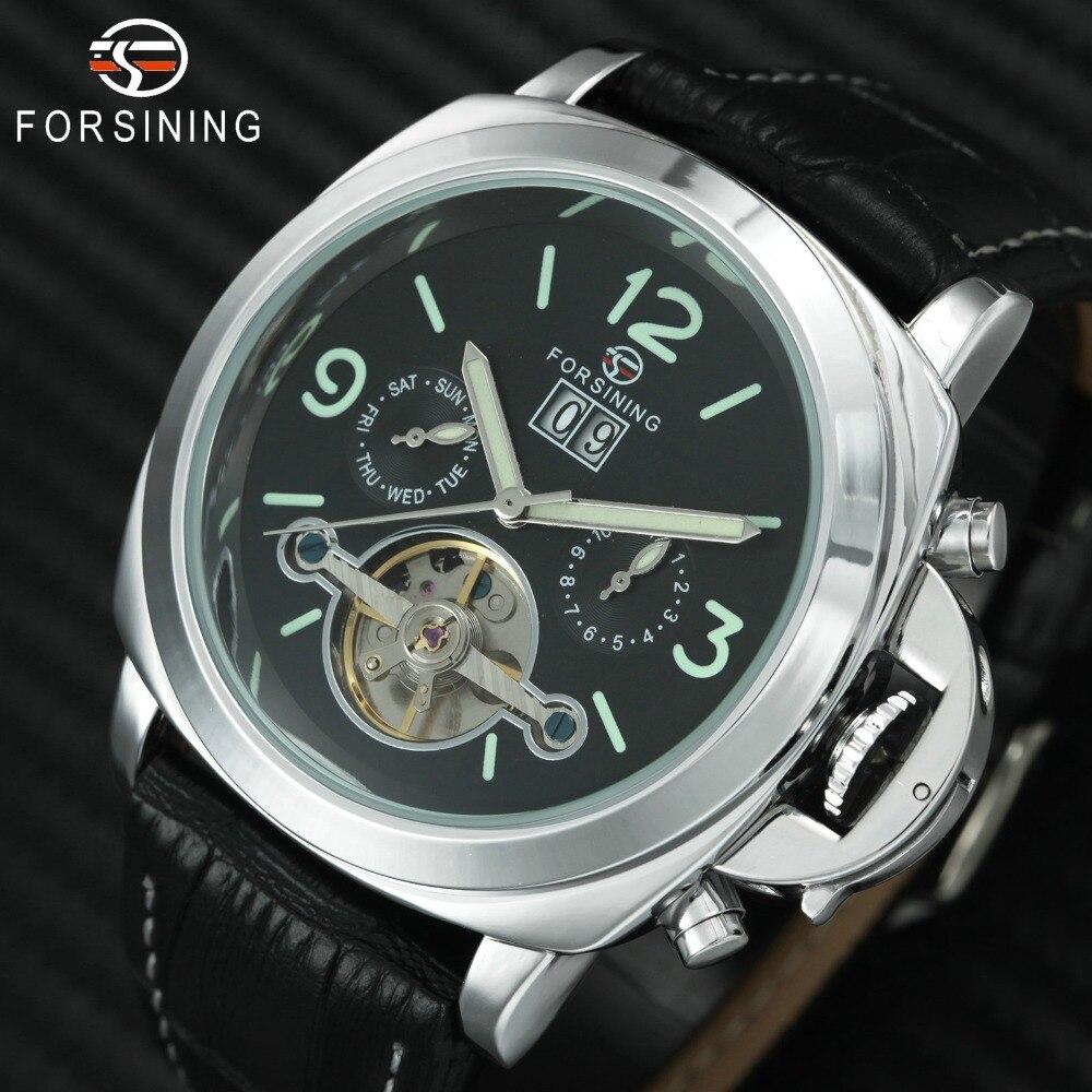 Aktiv Luxus Männer Automatische Tourbillon Mechanische Uhr Klassische Fosining Marke Lederband Kalender Datum Armbanduhren Uhren Hombre Offensichtlicher Effekt