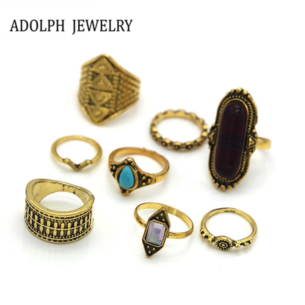 ADOLPH Jewelry For Women 2017 New Design Vintage Egypt Magic Pharaoh Rings 8 Pieces Wholesale Value For Money Hot Sale