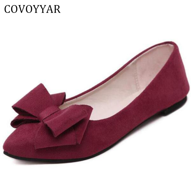 COVOYYAR 2018 Elegant Bowtie Flock Women Shoes Korean Spring Pointed Toe Lady Ballet Flats Shoes Slip On Sizes 34-41 WFS257 2017 womens spring shoes casual flock pointed toe narrow band string bead ballet flats flat shoes cover heel women flats shoes