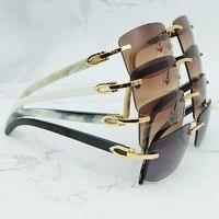 Luxury Square Sunglasses Vintage Men Natural Buffalo Horn Women Sunglass Vocation Accessories Brand Designer Carter Sunglasses