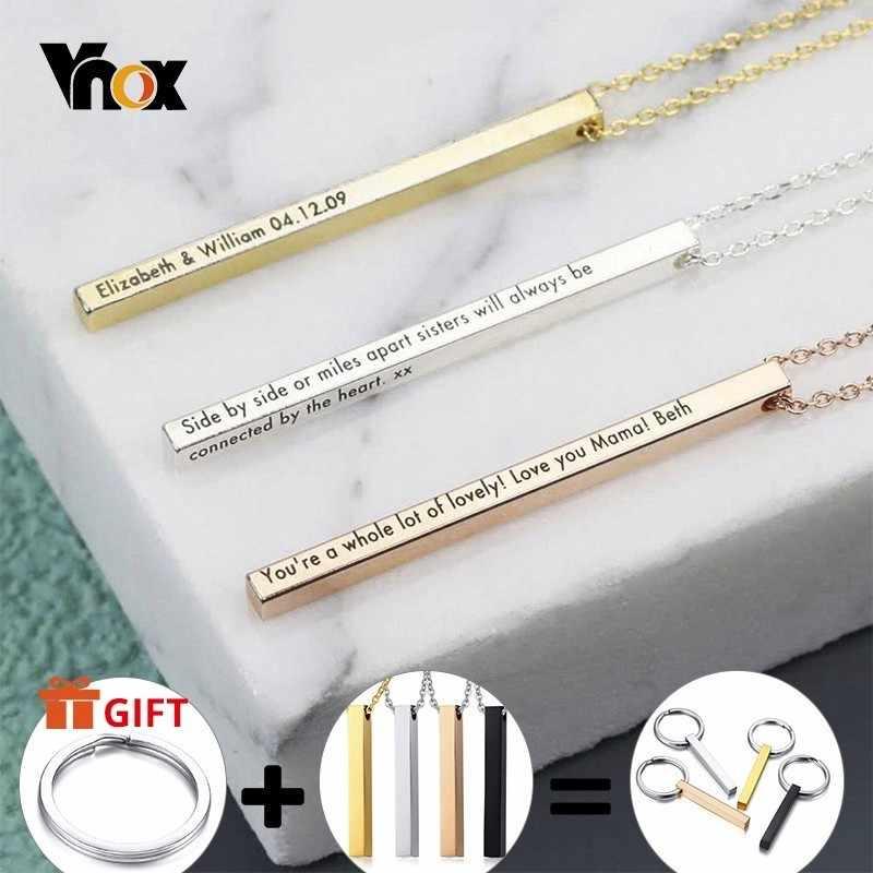 Vnox Gepersonaliseerde Naam Ketting Voor Vrouwen Mannen Verticale Bar Cilindrische Glossy Rvs Hanger Custom Gift Casual Kraag