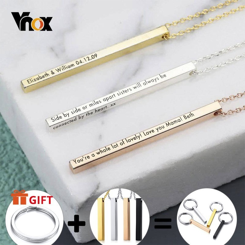 Vnox Personalized Name Necklace for Women Men Vertical Bar Cylindrical Glossy Stainless Steel Pendant Custom Gift Casual Collar