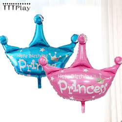 1pc Mini Princess Crown Foil Balloons Pink Blue Ballons Birthday Party Wedding Decorations Children's Birthday Balloons Supplies