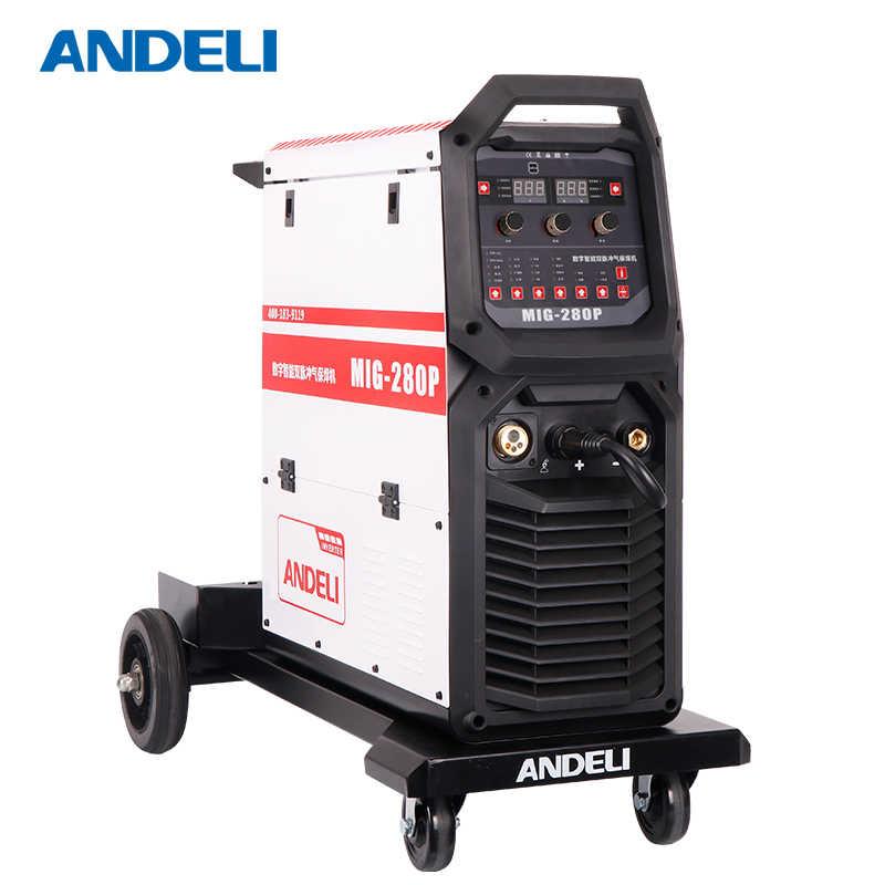 ANDELI Smart Single Phase MIG Welders Aluminium Double System MIG-280P  Welding Machine Inverter Double Pulse 18M/Min MIG Welder