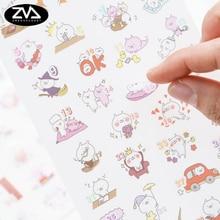 цена на 6pcs/lot Colour the rabbit Diary Stickers DIY Kawaii Scrapbooking Mini Stationery Sticker Office School Supplies