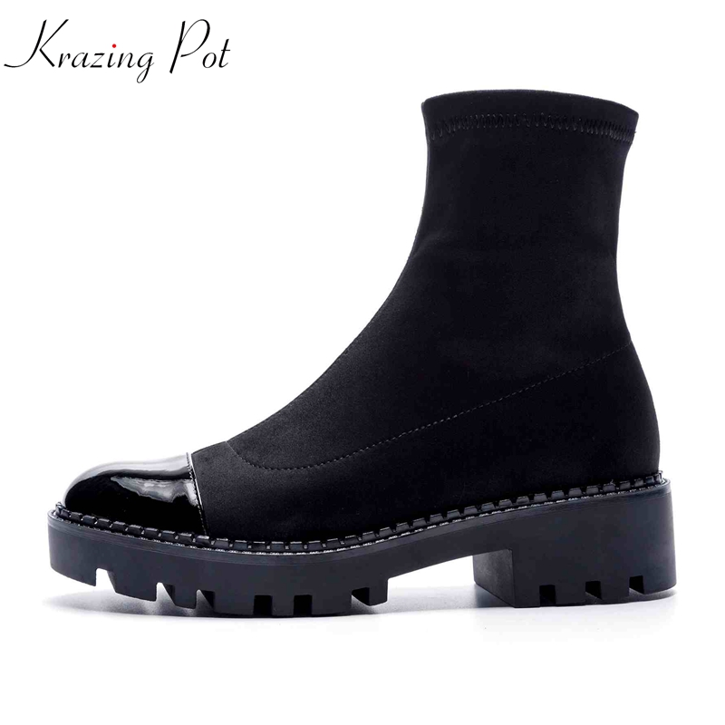 Krazing Pot 2018 new genuine leather flock stretch boots round toe streetwear model wedges med heels European mid-calf boots L02 krazing pot cow leather low heels gladiator round toe hollywood european chelsea boots plus size streetwear nude boots l83