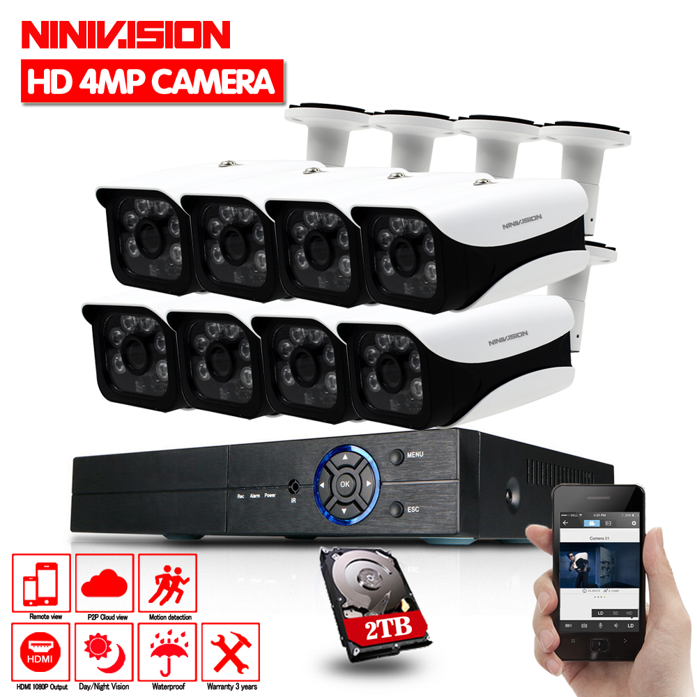 Cctv système 8 canal AHD 4MP 3MP 1080 p DVR avec 8 pcs Super 4MP étanche intérieur extérieur caméra de sécurité système 2 tb HDD