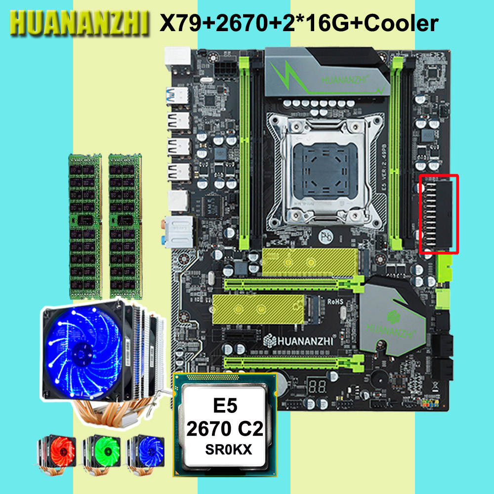 Discount computer HUANANZHI X79 Pro motherboard with DUAL M.2 NVMe slot CPU <font><b>Xeon</b></font> E5 <font><b>2670</b></font> C2 with 6 tubes cooler RAM 32G(2*16G) image