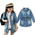 Outono primavera buracos lavagem de roupas de jeans crianças denim casaco longo meninas outwear para meninas casacos crianças roupa da menina top 3-10 T