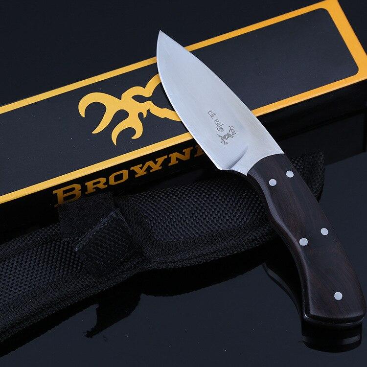 Ebony Wood Handle Fixed Blade font b Knife b font Full Tang Hunting Straight font b