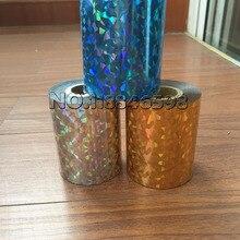 2 рулона голографической фольги горячего тиснения для бумаги или пластика 8 см х 120 м/рулон разбитое стекло Золото Серебро Красный Синий четыре цвета
