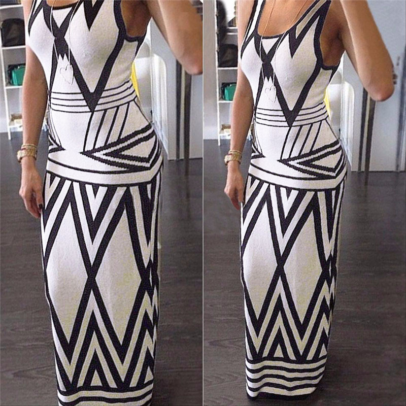 Mujeres estampado geométrico Summer Long Maxi Dress  moda Casual sin mangas Body
