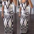 Mujeres estampado geométrico Summer Long Maxi Dress 2016 moda Casual sin mangas Bodycon Sexy de noche Vestidos blanco