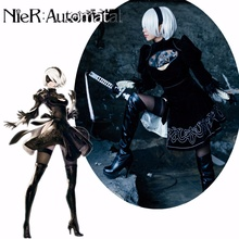 Cosplay Women NieR Automata Costumes YoRHa No. 2 Type B Derss /Gloves/Eye Mask Girls Professinal Exquisite ​Black Suit