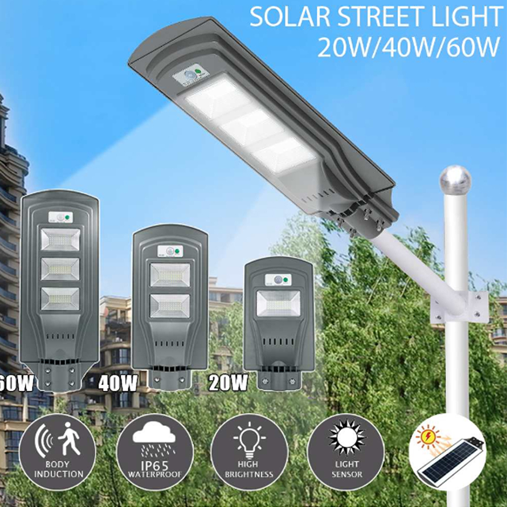 20W/40W/60W LED Solar Lamp Wall Street Light Dusk To Dawn Super Bright Motion Sensor Waterproof Security Lamp For Garden Yard