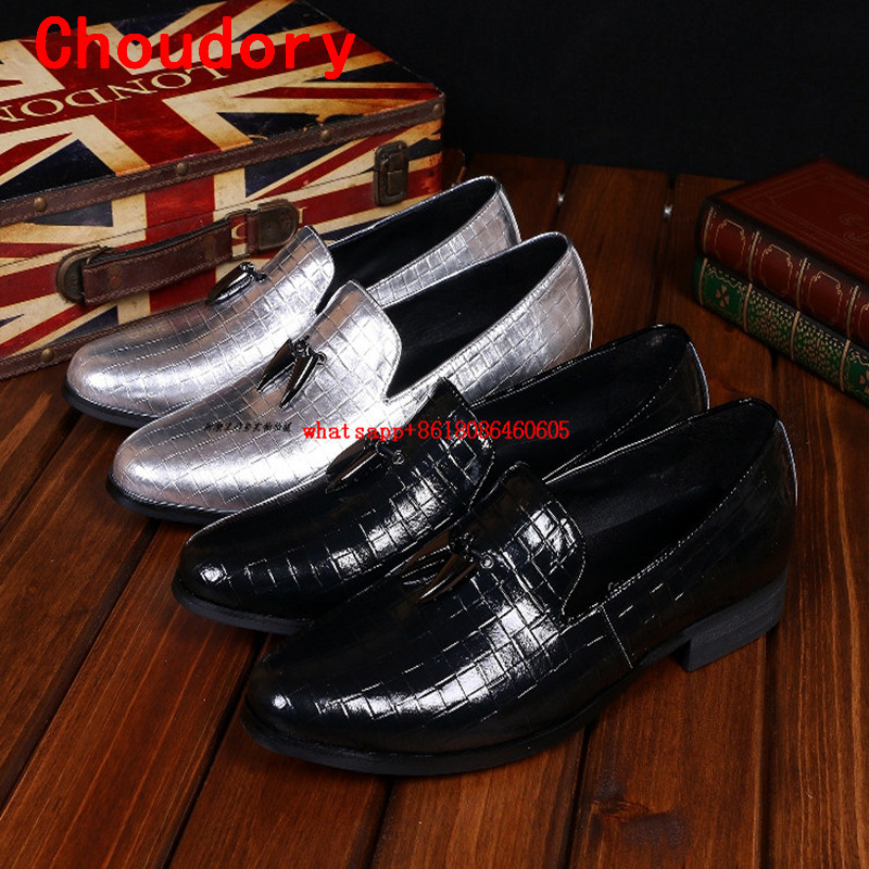 Italian mens shoes brands black sliver genuine leather formal shoes round toe velvet loafers slippers mocassin homme dress shoes
