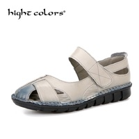 Fashion Women Casual Shoes Sandals Handmade Leather Summer Flat Heel Creepers Hollow Out With Flat Soft