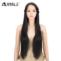 Noble #1B Natural Black L Side Part Straight Synthetic Hair Wigs For Women Heat Resistant Fiber Lace Front Wig