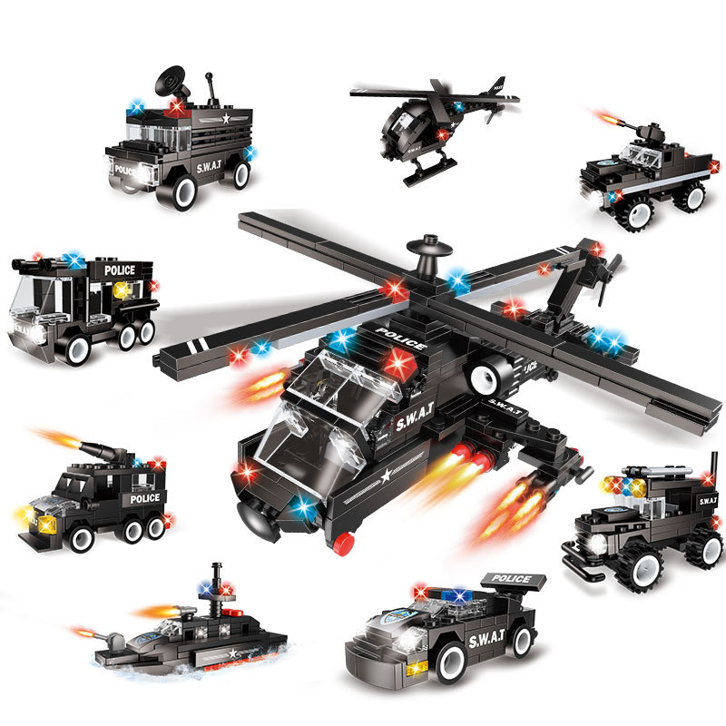 615pc 8in1 Children's educational building blocks toy Compatible Legoingly city military helicopter DIY figures Bricks boy gifts-in Blocks from Toys & Hobbies    1