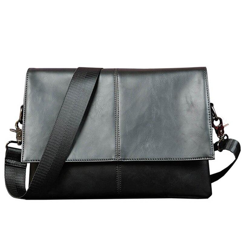 Brand Casual Men Briefcase Crazy Horse PU Leather Men's Messenger Bag Male Designer Laptop Shoulder Bag Men Business Travel Bag
