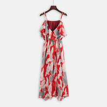 Timmiury Summer Chiffon Beach Dress Slit Floral Long Party Dresses V-neck Strap Sexy 2017 Women Summer Dress Boho Vestidos Mujer