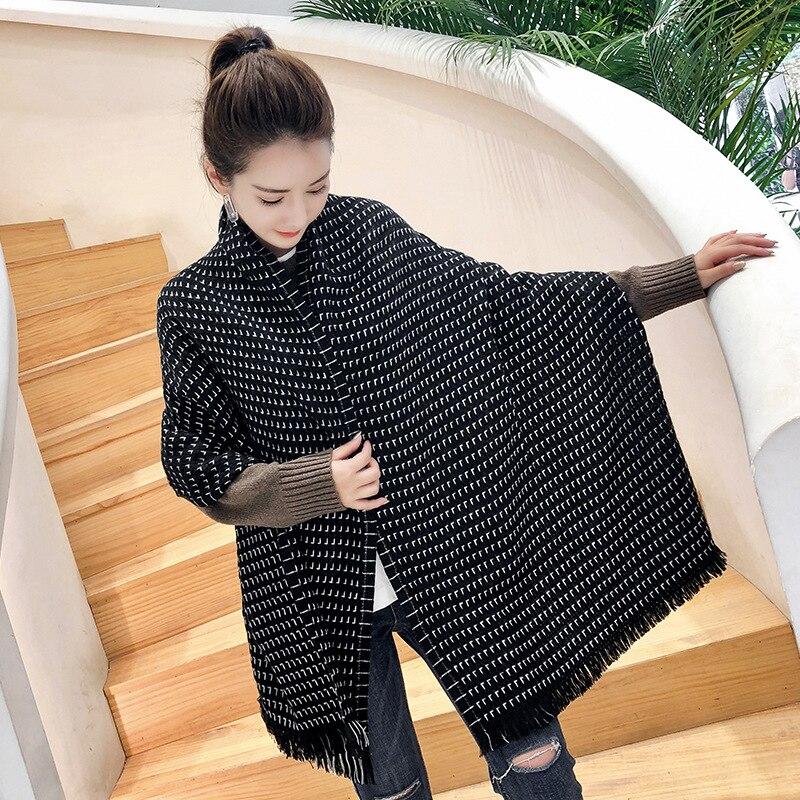 New Autumn Winter Female Wool Black/White Plaid   Scarf   Women Cashmere   Scarves   Wide Lattices Long Shawl   Wrap   Blanket Warm