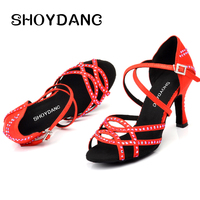 SHOYDANC Dance Shoes zapatillas mujer Red Pomegranate Rhinestone Latin Dance Shoes Women Salsa Summer Dance Sandals
